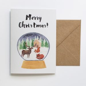 card christmas forest animals