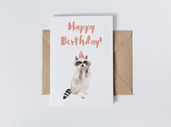 greeting card birthday racoon